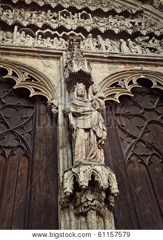 Detail Of Exterior Of Cathedral Of St. Maria, Augsburg, Germany