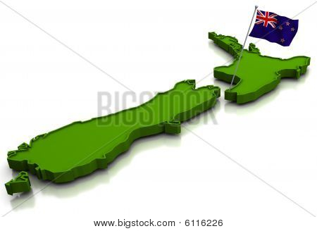 New Zealand - Map And Flag