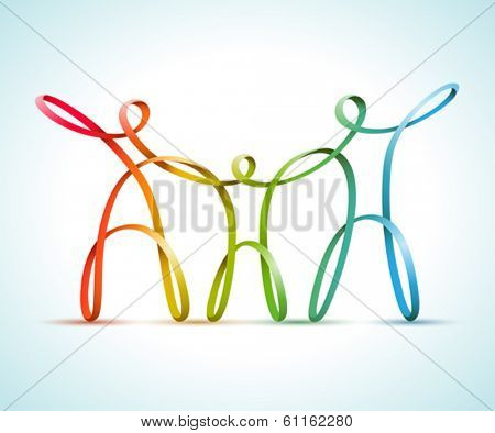 Colorful swirly figures family