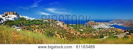 panorama of scenic Patmos island. view of Chora and monastery. G