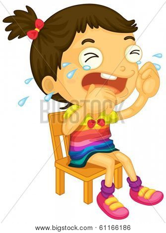 Illustration of a young girl crying on a white background