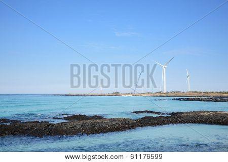 Wind Power Generators In Seaside, Jeju Island