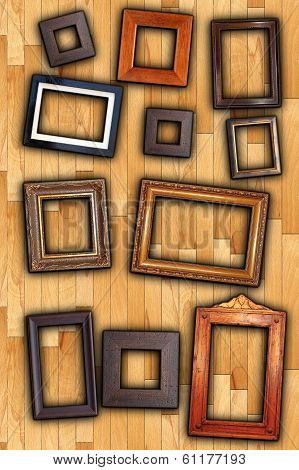 old painting wooden frames on wall backdrop poster