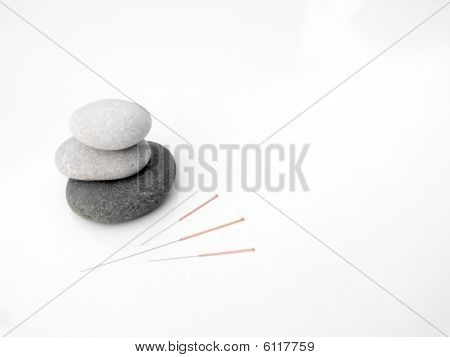 Acupuncture needles concept of zen