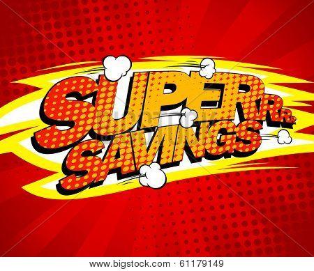 Super savings design, comics style.