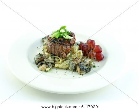 Filet Mignon Over Pasta