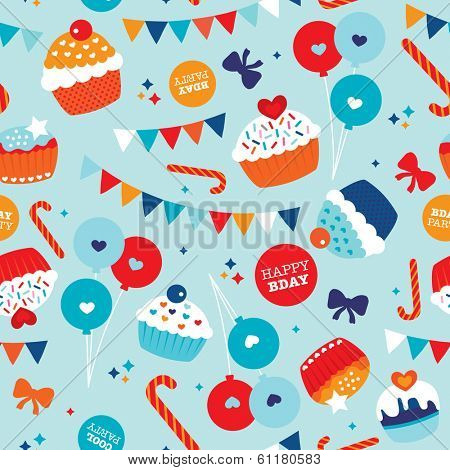 Seamless happy birthday balloon cake and decoration background pattern in vector