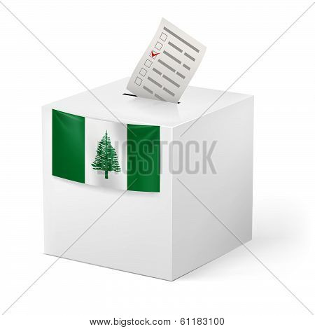 Ballot box with voting paper. Norfolk Island