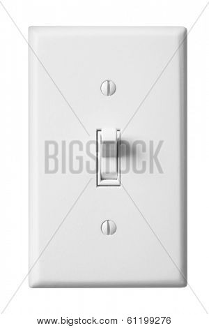 White faceplate of light switch on white background