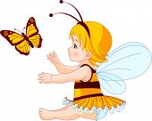 The little fairy girl tries to catch a butterfly. Raster version.   poster