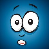 a abstract blue shocked cartoon face image poster