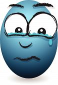a cartoon blue crying egg face image poster