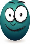 a blue cartoon blue crying egg face poster
