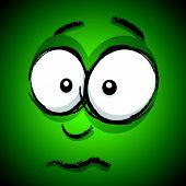 a green hand drawn upset cartoon face poster