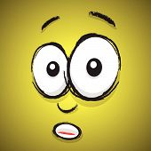 a shocked yellow hand drawn cartoon face poster
