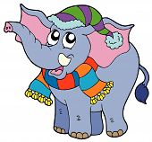 Elephant in warm winter clothes - vector illustration. poster