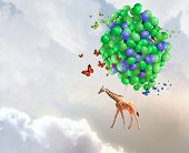 Giraffe flying high in sky on bunch of colorful balloons poster