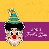 Happy Fool's Day funky concept with joker on floral decorated abstract background. poster