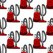 Happy smiling modern red vacuum cleaner in a repeat seamless background pattern in square format, cartoon illustration poster