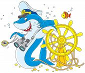 Great white shark with a captain cap, binocular, compass and steering wheel poster
