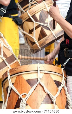 Close-up Picture Of South American Wooden Drums