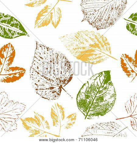 Autumn Leaf Stamps Seamless Pattern