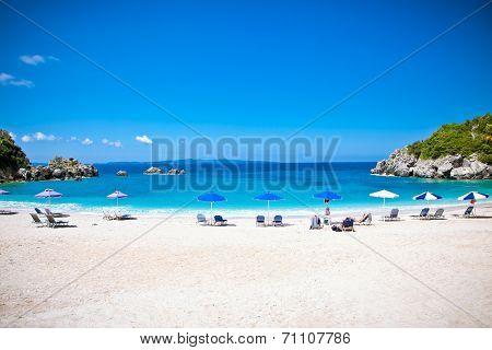 Beautiful Sarakiniko beach. Just 8km outside the village Parga after Agia village in Syvota area, Greece.