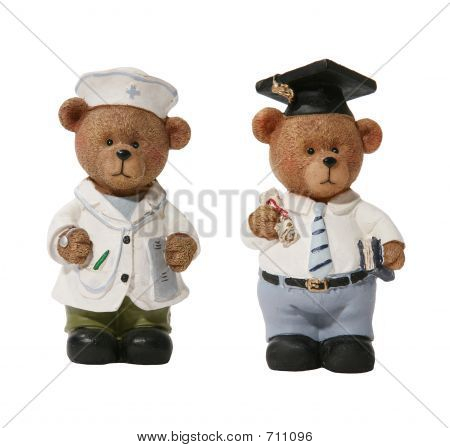 Doctor and Graduation Bears over white poster