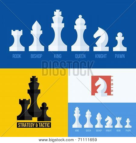 Modern Flat Chess Icons Vector Set. Chess Pieces Including King, Queen, Bishop, Knight, Rook, Pawn