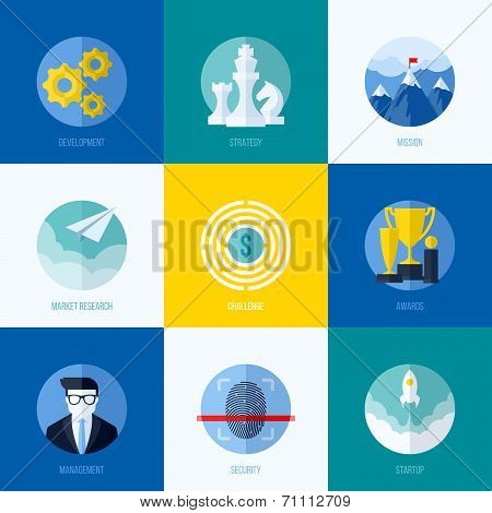 Modern flat vector concepts for websites mobile apps and printed materials. Icons of development strategy mission market research challenge awards management startup security poster