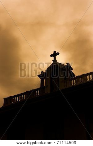 Church silhouette concept negatively.