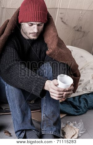 Cold And Homeless Man Begs For Money