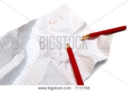 Crumpled Paper And Broken Pencil