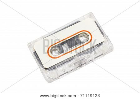 Audio Cassette With Label Isolated On White Background.