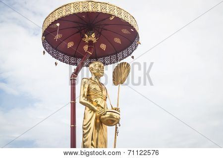 Golden Sculpture Of Kruba Srivijaya In Thailand Temple