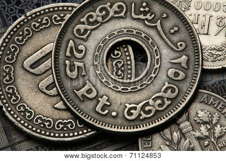 Coins of Egypt. Egyptian twenty five piaster (qirsh) coin.
