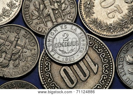 Coins of Bolivia. Bolivian two centavos coin.
