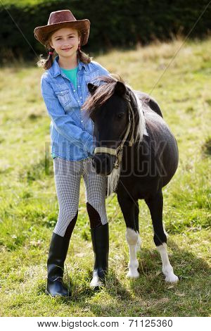 Horse - Lovely girl with pony on the ranch  poster