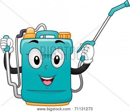 Mascot Illustration of a Knap Sack Sprayer