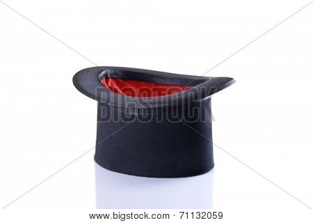Black and red magician top hat, isolated on white background