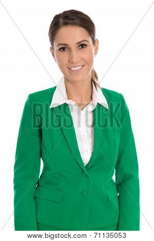 Portrait Of A Smiling Isolated Businesswoman Wearing Green Blazer.