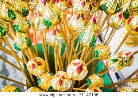 Group Of Artificial Colorful Lotus Buds