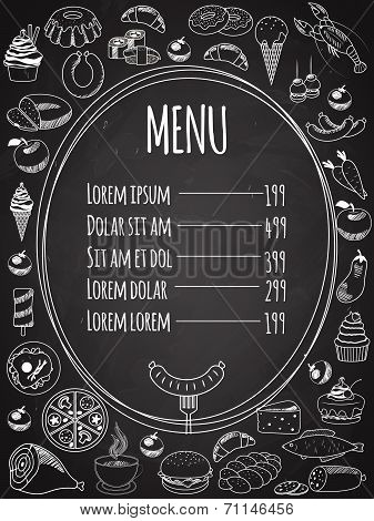Vector Seamless Food Menu on Chalkboard