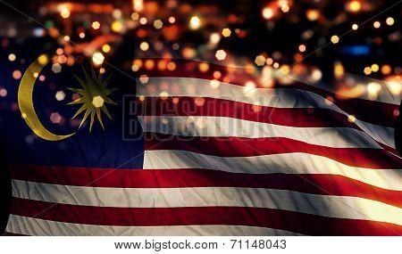 Malaysia National Flag Light Night Bokeh Abstract Background