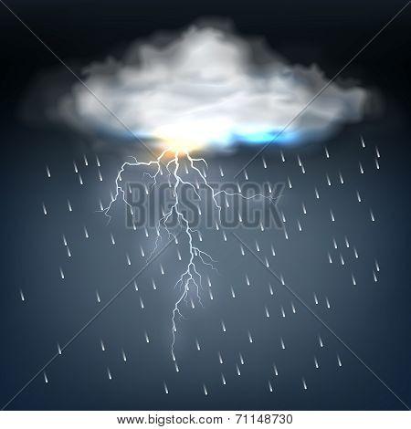 Cloud with rain and a lightning bolt