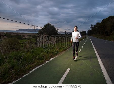 Runner Man In The Road