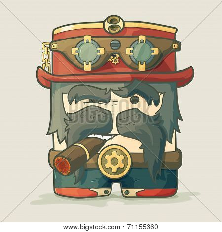 Steampunk dirigible pilot with goggles and hat, leather jacket