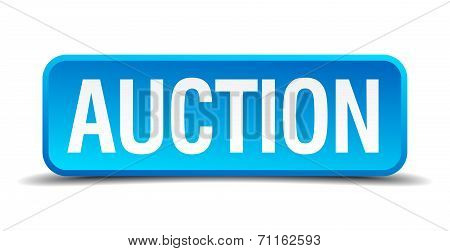 Auction Blue 3D Realistic Square Isolated Button