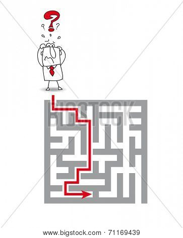 the complex maze. Joe has a big problem. he wants to get through the maze but he's very stressed