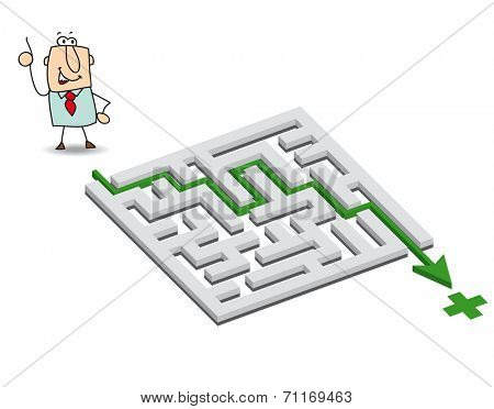 Joe and the maze. Joe has a solution. he wants to get through the maze